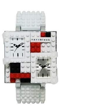 Nanoblocktime Traveler Metal Watch, White and Silver