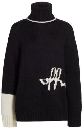 Off-White Logo Intarsia Alpaca-Blend Turtleneck Sweater