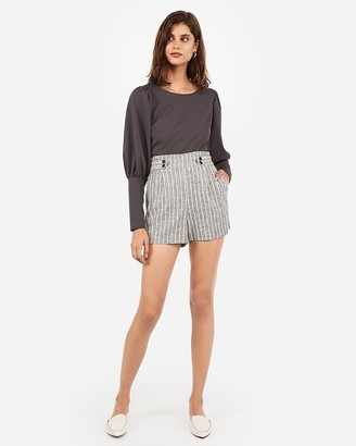 Express Super High Waisted Striped Button Front Linen-Blend Shorts