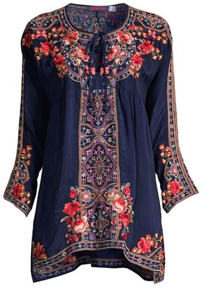 Johnny Was Alora Embroidered Peasant Blouse