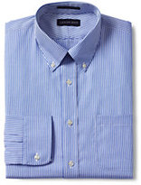 Classic Men's Tall Tailored Fit Pattern Supima No Iron Pinpoint Buttondown Collar-White/Admiral Blue Stripe