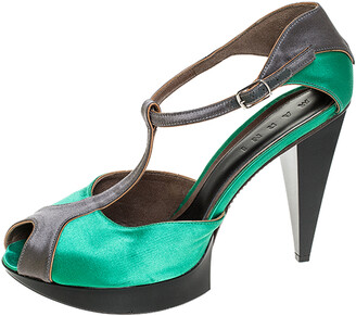 Marni Green/Grey Satin Peep Toe T Strap Platform Sandals Size 40.5