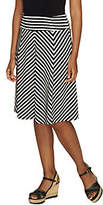 George Simonton Petite Crepe Knit Striped Skirtw/ Panels