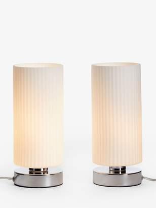 John Lewis & Partners Ridge Opal Glass Touch Lamps, White, Set of 2