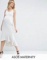 Asos High Apex Midi Dress With Ruffle Hem