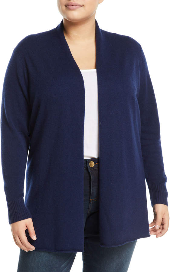 Cashmere Open-Front Computer Cardigan- Plus Size- Navy