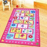 TideTex Pink Children Carpet Fashion Hopscotch Kids Rug Non-slip Baby Nursery School Study Game Rugs Mat Girl Bedroom Floor Pads Cute Home Area Rug 3'3x5'0 (39.3inchx59inch, Pink)