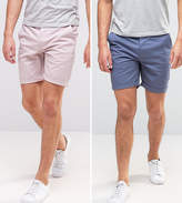 Asos 2 Pack Slim Chino Shorts In Light Purple & Blue Save
