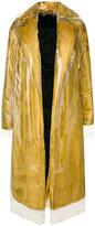 Calvin Klein layered furry detail coat