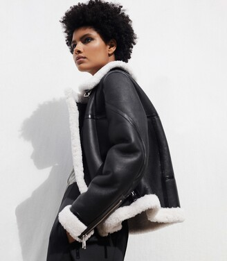 Reiss Eve - Shearling Aviator Jacket in Black/white