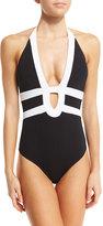 Jets Classsique Contrast Halter One-Piece Swimsuit, Black