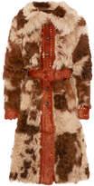 Prada Studded Shearling Coat - Brown