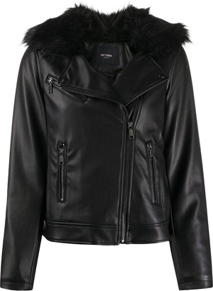 Twin-Set Fur Collar Faux Leather Jacket