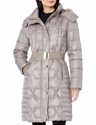 Andrew Marc Women's Plymouth Belted Down Jacket with Faux Fur Removable Hood