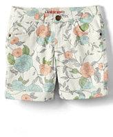 Classic Girls 5 Pocket Color Denim Midi Shorts-Ivory Floral