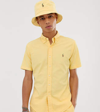 Polo Ralph Lauren Exclusive to Asos short sleeve garment dyed oxford shirt slim fit multi player logo in yellow