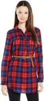 Derek Heart Junior's Plaid Long Sleeve Top with Belt and Pin Tucks
