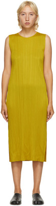 Pleats Please Issey Miyake Yellow Sleeveless Mid-Length Dress