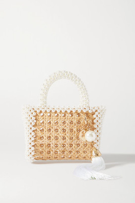 Rosantica Spiaggia Faux Pearl-embellished Wicker Tote - Neutral