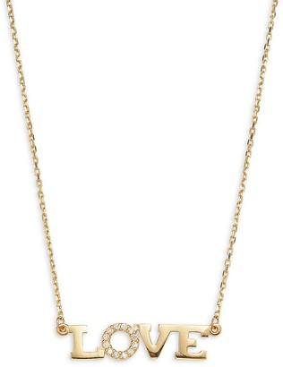 Saks Fifth Avenue 14K Yellow Gold Diamond Love Pendant Necklace