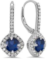 DazzlingRock Collection 14K White Gold Round Cut & White Diamond Ladies Halo Style Hoop Earrings