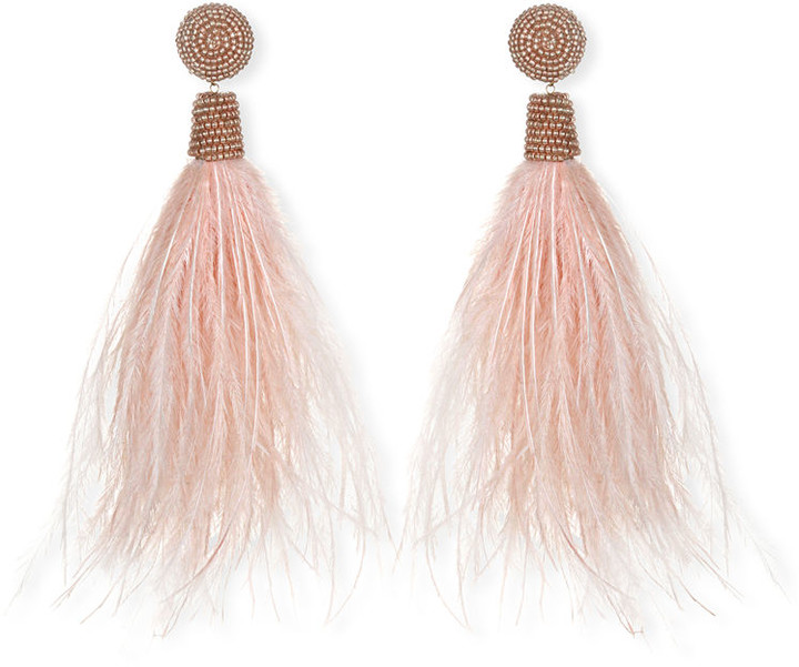 Suzanna Dai Feather Tassel Drop Earrings