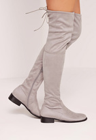 Missguided Flat Over The Knee Boots Grey