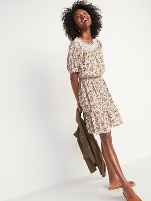 Old Navy Smocked Waist-Defined Floral-Print Mini Dress for Women