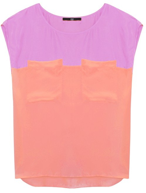 Tibi Silk Color Block Sleeveless Top