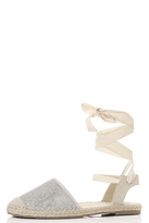 Quiz Silver Shimmer Ankle Tie Espadrille Pumps