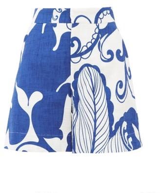 La DoubleJ Abstract-print Cotton-blend Shorts - Womens - Blue White