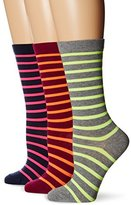 Ozone Women's Stripes and Neon Crew Socks 3-Pack