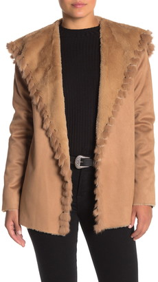 Love Token Faux Suede Genuine Rabbit Fur Trim Jacket