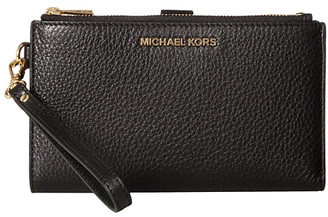 Michael Kors Women's Wristlets - Black Double-Zip Pebbled Leather Wristlet