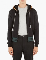 Raf Simons Black Stripe Detail Zip-up Hoodie