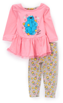 Children's Apparel Network Pink Cookie Monster Knit Ruffle Pullover & Pants - Infant