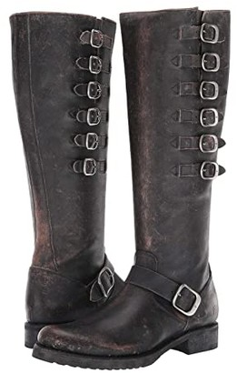 Frye Veronica Belted Tall (Black Brush Off Full Grain) Women's Boots