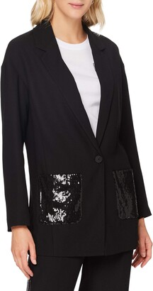 Armani Exchange Women's Crepe Blazer with Shiny Sequins Pockets Business Casual