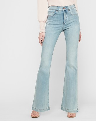 Express High Waisted Light Wash Slim Flare Jeans