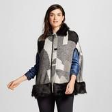 Cliche Women's Faux Fur Trim Poncho Black/Gray