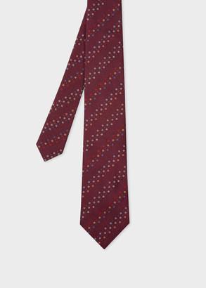 Paul Smith Men's Burgundy Floral Stripe Silk Tie