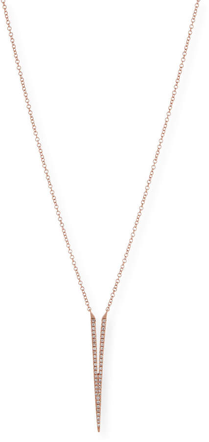 Ef Collection Split Dagger Diamond Pendant Necklace, Rose Gold