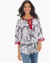 Chico's Cascading Paisleys Peasant Top