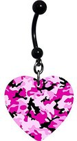 Body Candy Pink Camouflage Heart Belly Ring