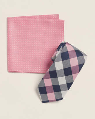 Nautica Two-Pack Pink Newton Plaid Tie & Hanky