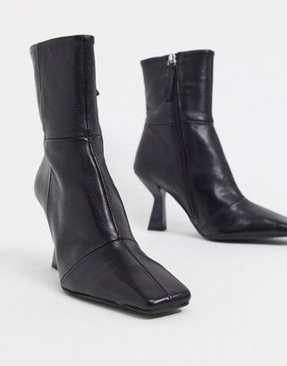 ASOS DESIGN Elodie premium leather square toe heeled boots in black