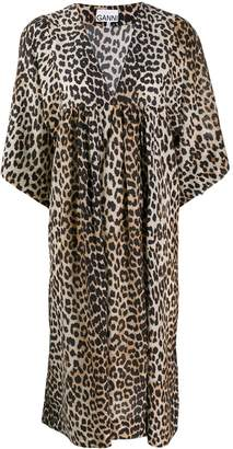 Ganni leopard print loose fit dress