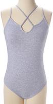 Pure Style Girlfriends Heather Grey Cross-Strap Bodysuit