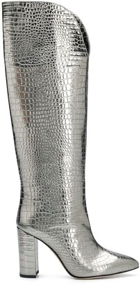 Paris Texas Metallic Crocodile-Effect Knee-High Boots