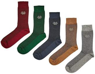 Burton Menswear London 5 PackMulticolour Crest Textured Socks - Multi